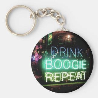 Drink, Boogie, Repeat! Basic Round Button Keychain