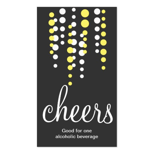 Drink bubbles cheers cocktail beverage ticket gray business card template