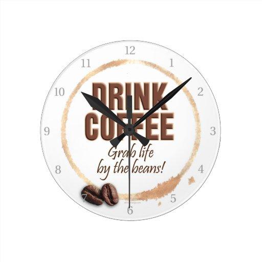 Drink Coffee Round Clock