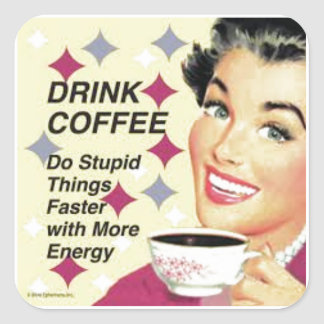 Drink coffee square sticker