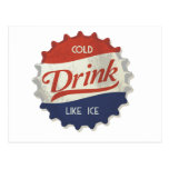 Drink Ice Cold Cola Bottle Cap Post Card