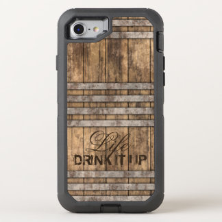 """DRINK IT UP"" Barrel Wood OtterBox Defender iPhone 8/7 Case"