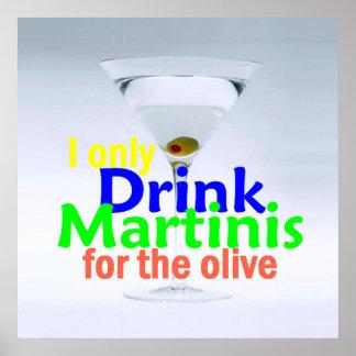 Drink MARTINIS Olives Gin Vodka POSTER Print