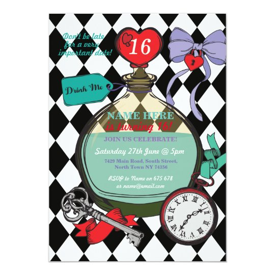 Drink Me Alice In Wonderland Birthday Party Invite | Zazzle