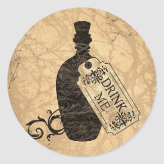 Drink Me Bottle Round Stickers