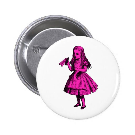 Drink Me Inked Pink Fill Pinback Button