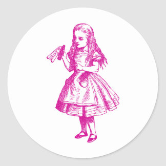 Drink Me Inked Pink Classic Round Sticker