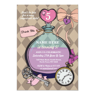 Drink Me Invitation Alice In Wonderland Birthday