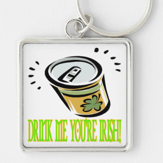 Drink Me Your Irish Silver-Colored Square Keychain