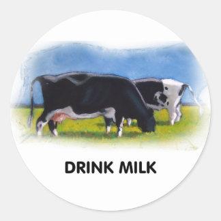 DRINK MILK COWS ARTWORK CLASSIC ROUND STICKER