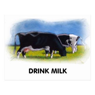 DRINK MILK COWS ARTWORK POSTCARD