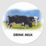 DRINK MILK COWS ARTWORK ROUND STICKERS