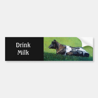 """Drink Milk"": Holstein Cow in Oil Pastel: Dairy Bumper Sticker"