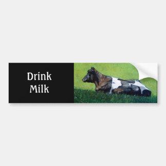 """""""Drink Milk"""": Holstein Cow in Oil Pastel: Dairy Car Bumper Sticker"""