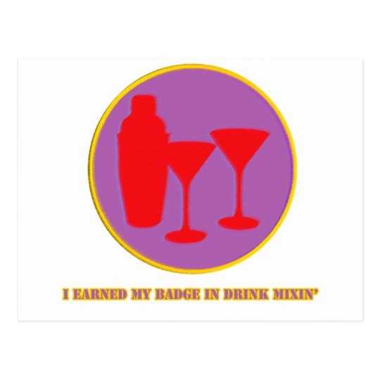 Drink Mixin Merit Badge Postcard