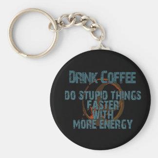 DRINK MORE COFFEE BASIC ROUND BUTTON KEYCHAIN
