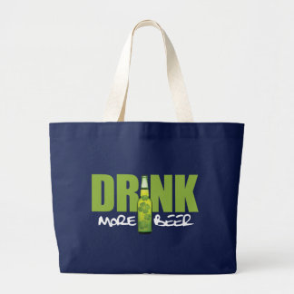 Drink More Irish Green Beer Large Tote Bag