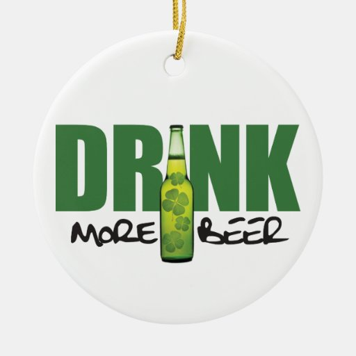 Drink More Irish Green Beer Double-Sided Ceramic Round Christmas Ornament
