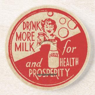 Drink More Milk Vintage Milk Top Design Beverage Coasters