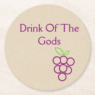Drink Of The Gods Round Paper Coaster