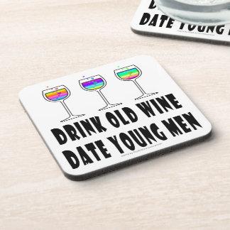 DRINK OLD WINE - DATE YOUNG MEN BEVERAGE COASTER