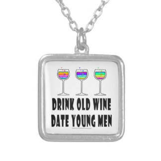 DRINK OLD WINE - DATE YOUNG MEN SILVER PLATED NECKLACE