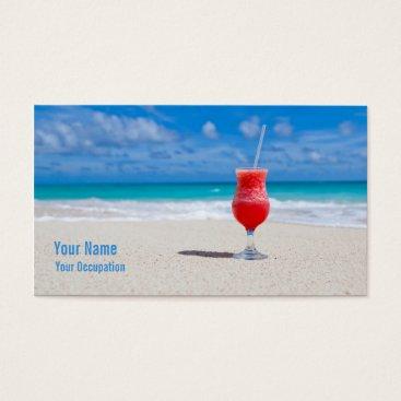 Beach Themed Drink On Beach custom business cards