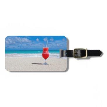Beach Themed Drink On Beach custom luggage tag