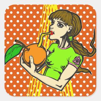 Drink Orange Juice Square Stickers