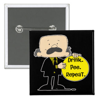Drink Pee Repeat Beer T-shirts Gifts 2 Inch Square Button