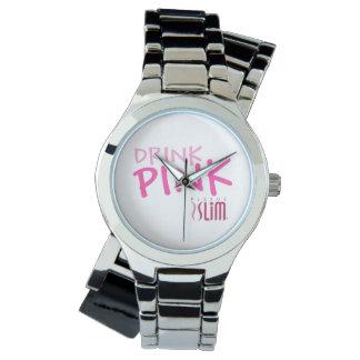 Drink Pink Plexus Slim Wraparound Silver Watch