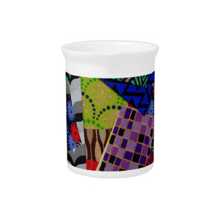 Drink Pitcher with Multi-Patterned Collage