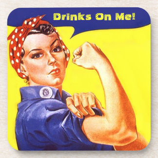 Drink Reminder Coaster Vintage Rosie The Riveter