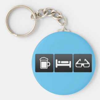 Drink, Sleep and 3d Glasses Basic Round Button Keychain