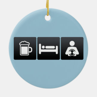 Drink, Sleep and Astrologists Double-Sided Ceramic Round Christmas Ornament