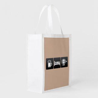 Drink, Sleep and Beer Kegs Reusable Grocery Bag
