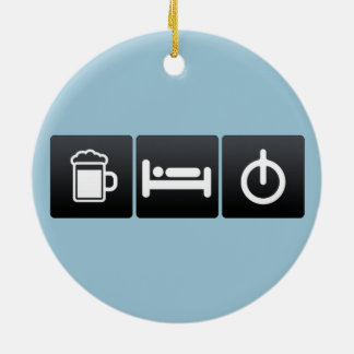 Drink, Sleep and Calculating Radius Double-Sided Ceramic Round Christmas Ornament