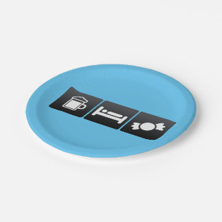 Drink, Sleep and Candy Stores 7 Inch Paper Plate