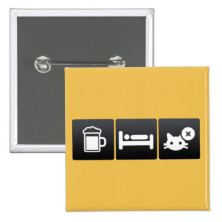 Drink, Sleep and Cat Breeding 2 Inch Square Button