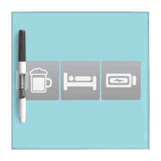 Drink, Sleep and Charging Batteries Dry Erase Board