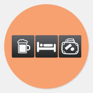 Drink, Sleep and Children�s Suitcases Classic Round Sticker
