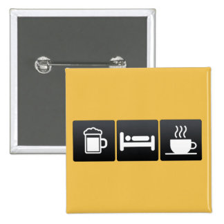 Drink, Sleep and Coffee Shops 2 Inch Square Button