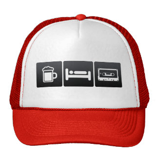 Drink, Sleep and Compact Cassettes Trucker Hat