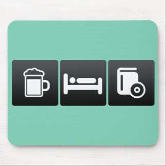 Drink, Sleep and Compact Discs Mouse Pad