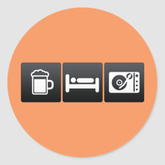 Drink, Sleep and Compact Record Player Classic Round Sticker