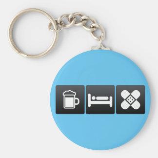 Drink, Sleep and First Aid Basic Round Button Keychain