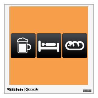 Drink, Sleep and Garlic Bread Wall Stickers