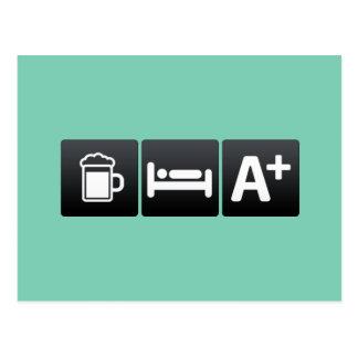 Drink, Sleep and Good Grades Postcard