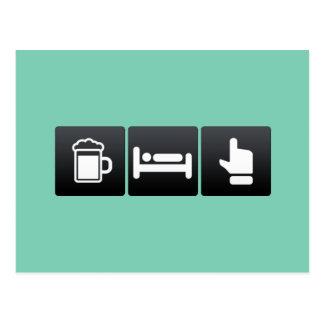 Drink, Sleep and Green Light Postcard