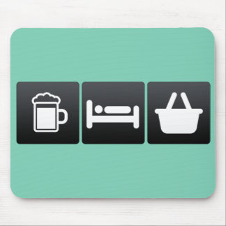 Drink, Sleep and Grocery Shopping Mouse Pad